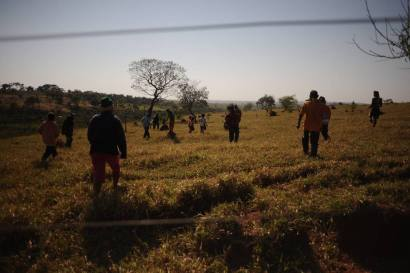 """A group of the Guarani Kaiowa people occupy a private ranch that they consider part of their """"Tekohá"""", or sacred land, Potrero Guasu in Paranhos, Mato Grosso do Sul, under threat from gunmen hired by the non-Indian ranchers to confront them."""